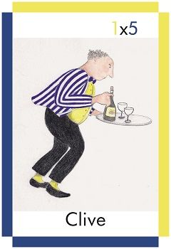 A card showing a waiter called Clive