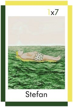 A card showing a man called Stefan lying on a lilo in the sea