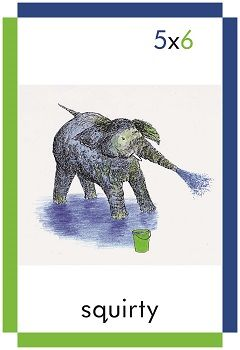 A card showing a squirty elephant