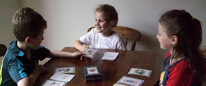 Children playing with the cards